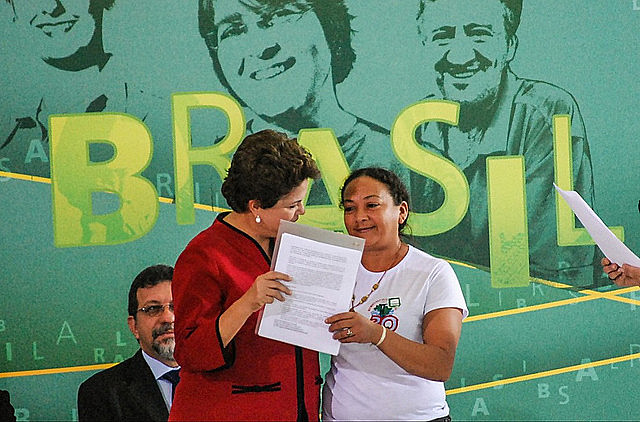 Dilma Ferreira Silva (right) and the then president of Brazil, Dilma Rousseff