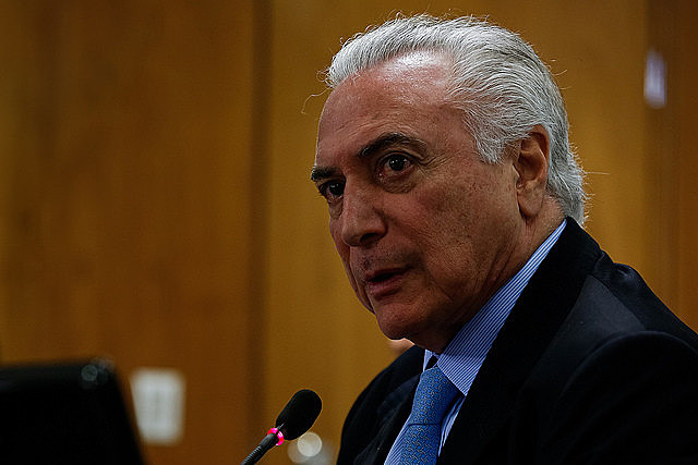 Presidente Michel Temer en reunión en Brasília