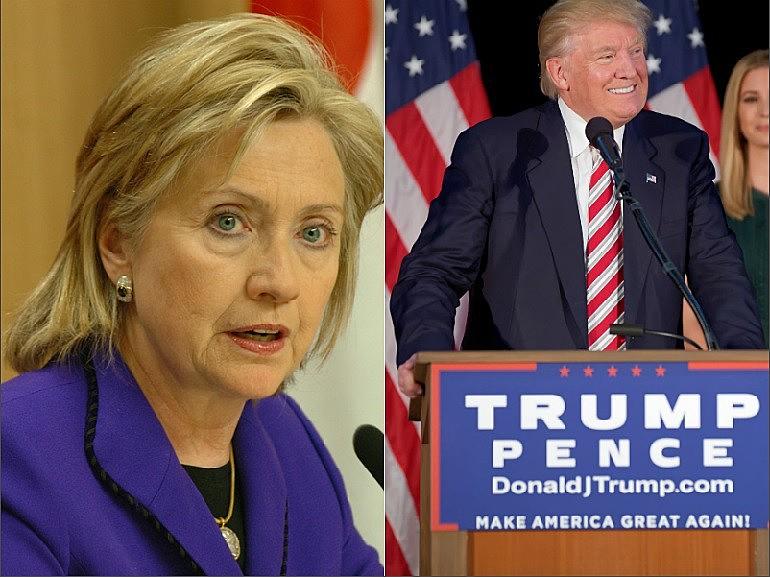Pela última pesquisa Hillary (Esq) e Trump (Dir) estão tecniciamente empatados na expectativa de votos