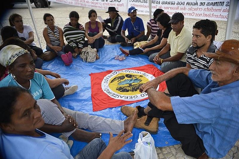 Representantes de povos tradicionais durante greve de fome em Brasília, em 2014, por criação de reserva sustentável em MG