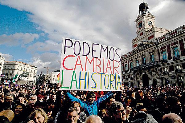 Na Espanha, o partido Podemos, de esquerda, ganha cada vez mais adeptos nas eleições