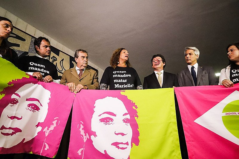 Deputados federais durante ato pelo esclarecimento do assassinato de Marielle Franco (PSOL)