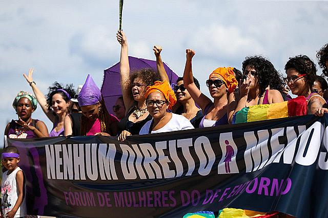 Movimientos de mujeres del Distrito Federal realizan acto unificado por el Día Internacional de la Mujer, en marzo de este año