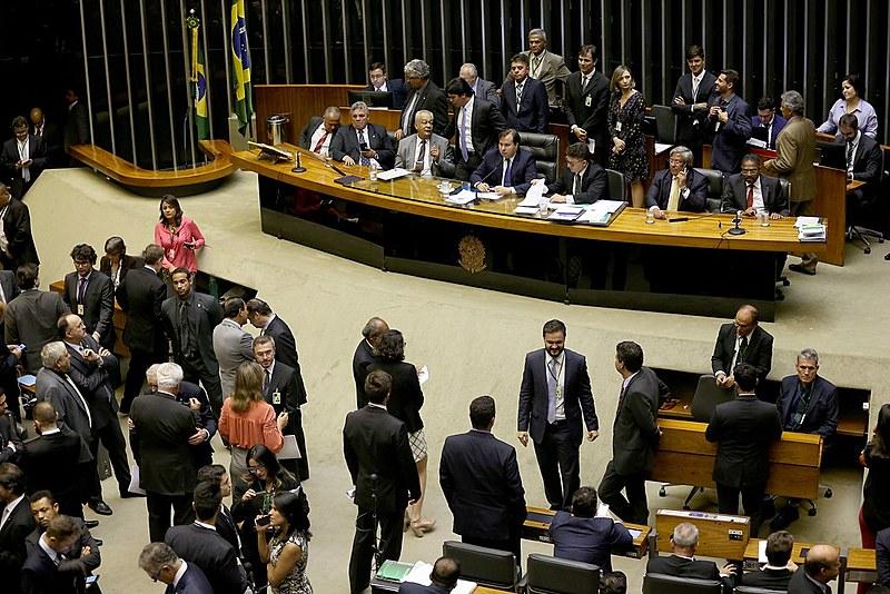 Plenário da Câmara dos Deputados durante sessão para votação da intervenção federal no Rio de Janeiro
