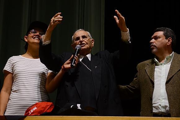 Lutador incansável dos direitos do povo, Dom Paulo Evaristo Arns, durante homenagem, no ano passado, no TUCA, em São Paulo