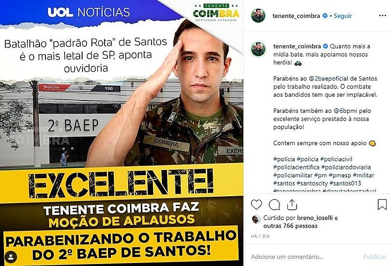 """""""Parabéns ao 2º BAEP de Santos pelo trabalho realizado"""", celebrou o parlamentar"""