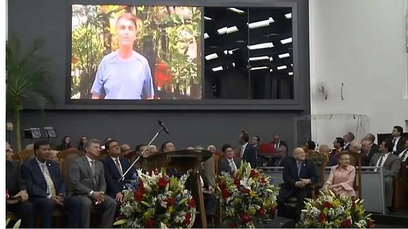 Vídeo de Bolsonaro fazendo campanha divulgado em igreja evangélica