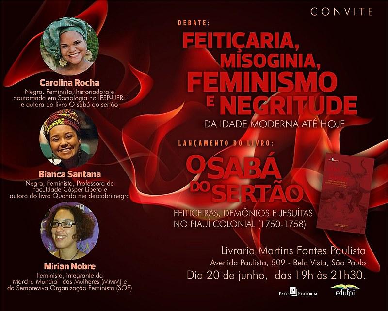 """Debate """"Feitiçaria, Misoginia, Feminismo e Negritude"""" acontece na Livraria Martins Fontes, na região central de São Paulo"""