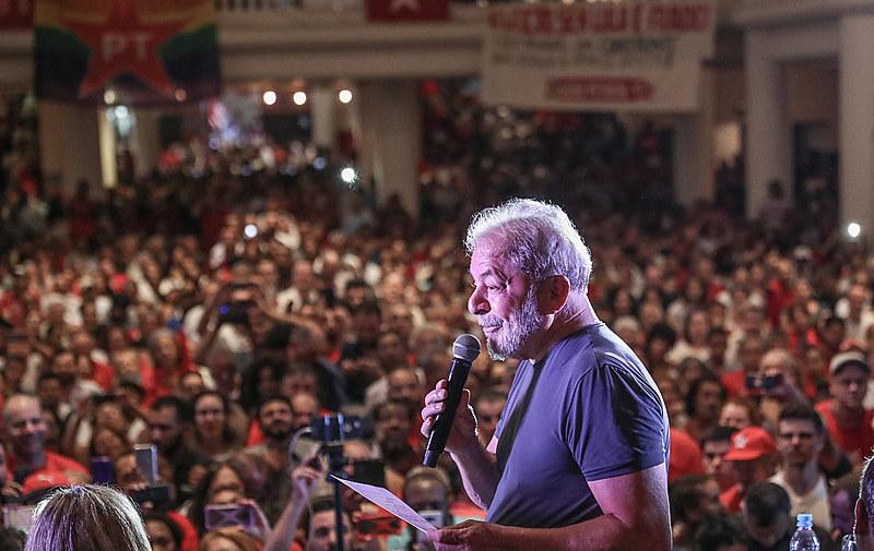 Lula em ato de comemoração aos 38 anos do PT em São Paulo