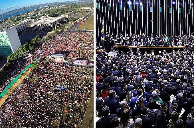 Protesto contra o golpe em frente ao Congresso Nacional; Votação na Câmara dos Deputados