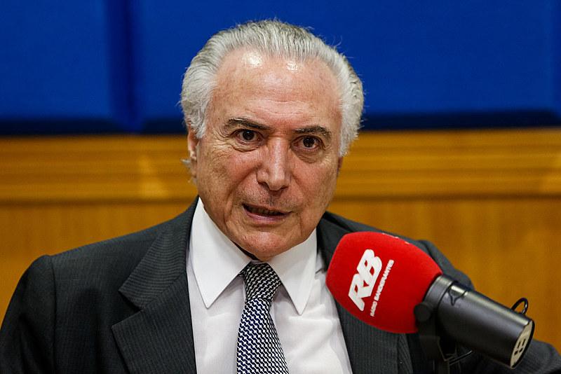 O presidente golpista Michel Temer durante entrevista ao Programa Jornal Gente da Rádio Bandeirantes.