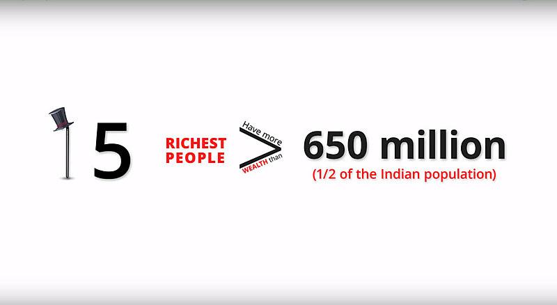 Vídeo aponta que as quinze pessoas mais ricas da Índia têm mais riqueza que 650 milhões de habitantes – metade da população indiana