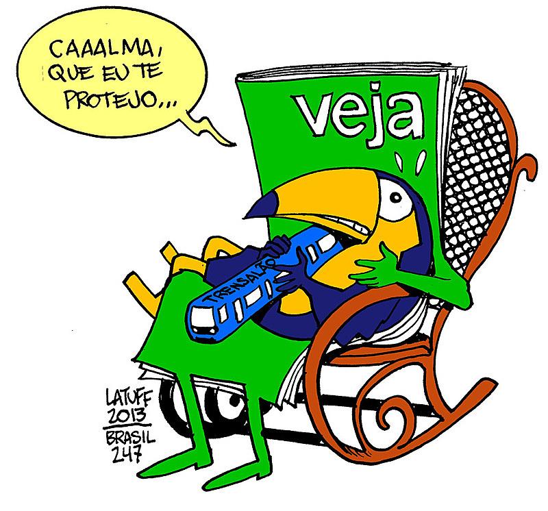Charge de Latuff denunciando a impunidade dos políticos tucanos envolvidos no caso trensalão