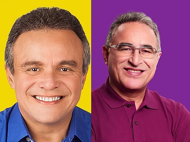 À esquerda, Zenaldo Coutinho (PSDB), candidato à reeleição; à direita, Edmilson Rodrigues, do PSOL