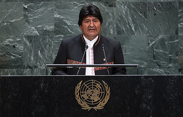Bolivian president Evo Morales during a speech at the United Nations General Assembly