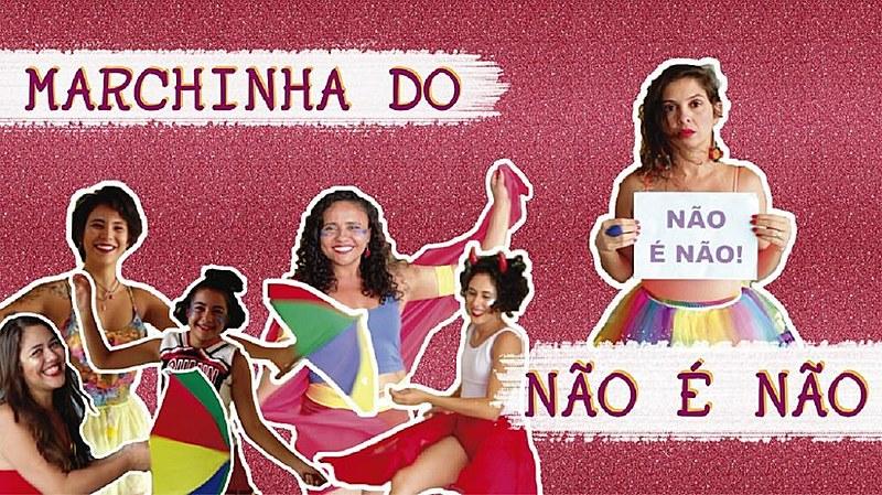 Cartaz  do vídeo da marchinha 'Não é não'.