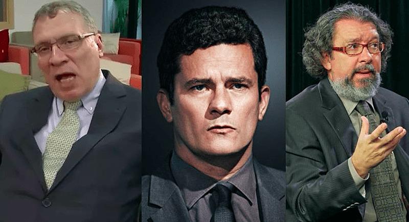 Os juristas brasileiros Eugênio Aragão, Sergio Moro e Antônio Carlos Castro, conhecido como Kakay