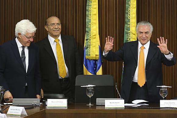 Participaron del lanzamiento el Presidente no electo Michel Temer, el Ministro-Jefe de la Casa Civil, Eliseu Padilha y el secretario ejecutivo del Consejo Moreira Franco