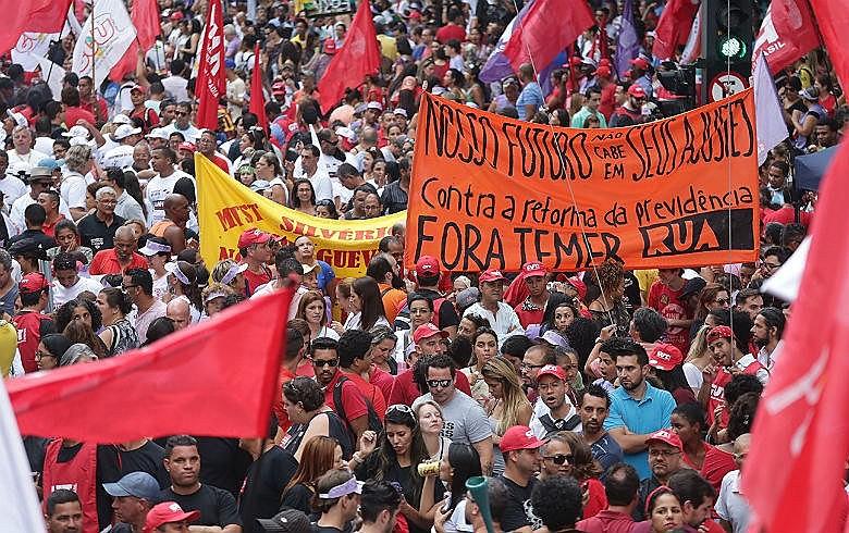 Protesto contra a reforma da Previdência, em 15 de março, em São Paulo. Luta ganha adesão de mais um setor relevante da sociedade brasileira