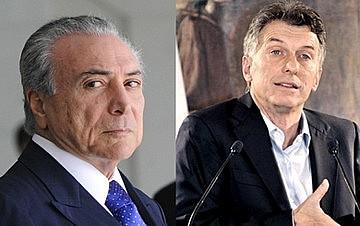 Temer e Macri: esforços para esvaziar o Mercosul e resgatar a posição de subserviência aos interesses dos EUA