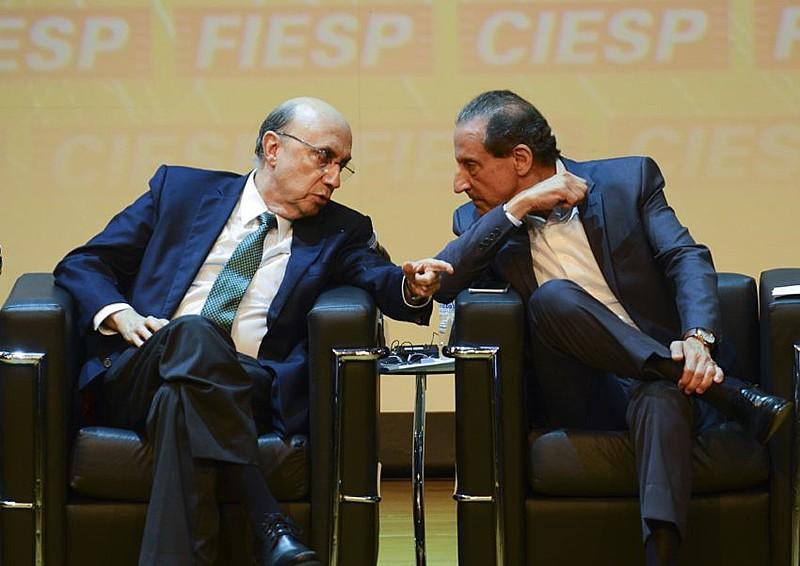 O ministro da Fazenda, Henrique Meirelles, participa de evento na Fiesp, ao lado do presidente da entidade, Paulo Skaf