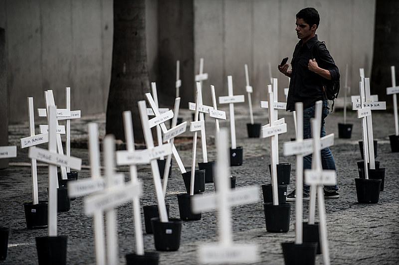 Um dos protestos que lembrou os 111 mortos no Massacre do Carandiru em São Paulo, em 1992