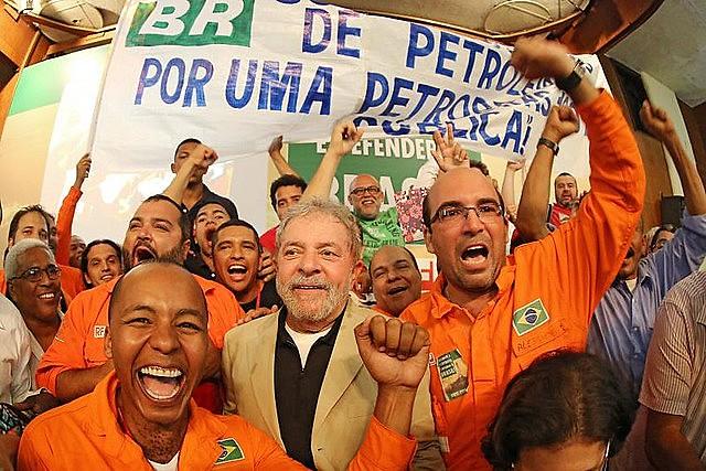 Lula participou de evento com trabalhadores da Petrobras em 2015