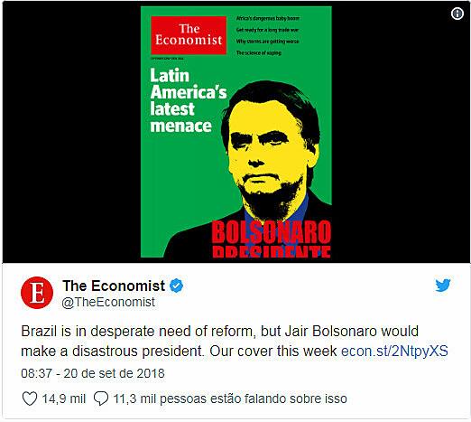 Ao contrário da imprensa nacional, veículos internacionais trataram Bolsonaro como ameaça