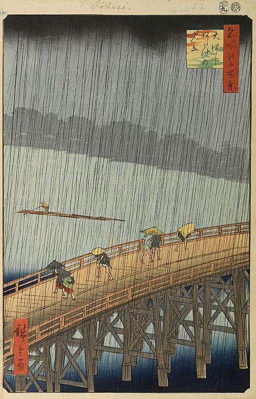 """""""Chuvasca repentina na ponte Shin-Ohashi e Atake"""", de Utagawa Hiroshige"""
