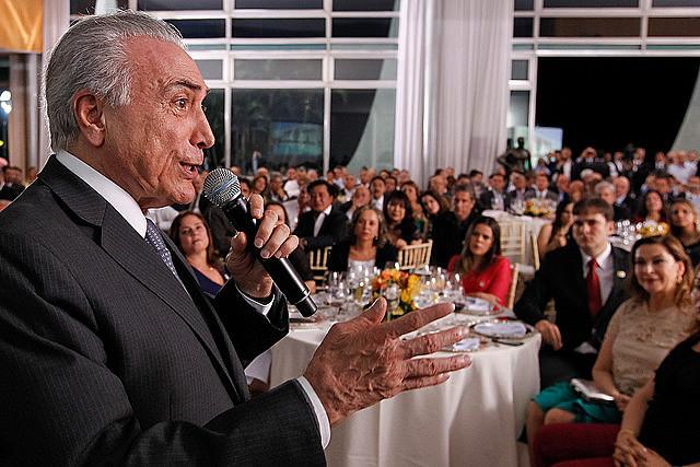 Michel Temer discursa durante jantar a aliados no Palácio da Alvorada