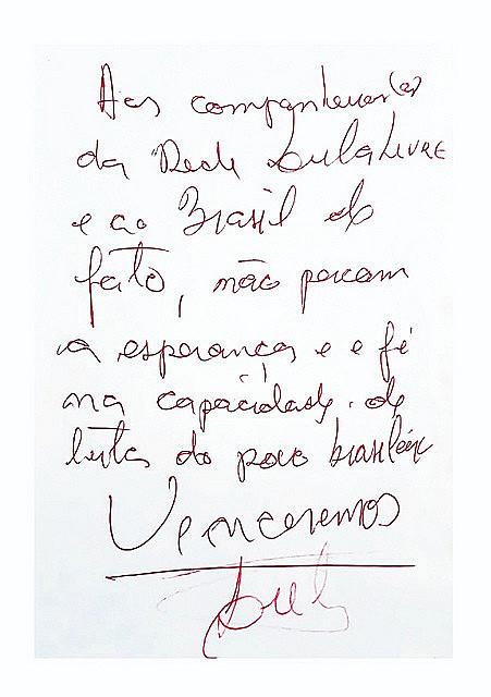 Lula wrote an optimistic message on Thursday