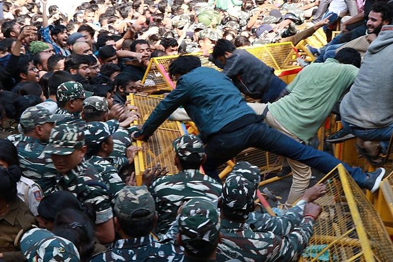 V. Arun Kumar, protesto estudantil em Déli, 18 de novembro de 2019