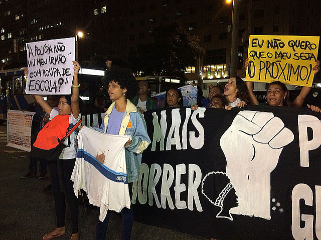 Mothers of victims of police brutality led the protest, including Marinete da Silva and 14-year-old Marcos Vinícius' mother Bruna Silva