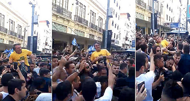 Supporters filmed attack against Bolsonaro during campaign event in Juiz de Fora on Thursday