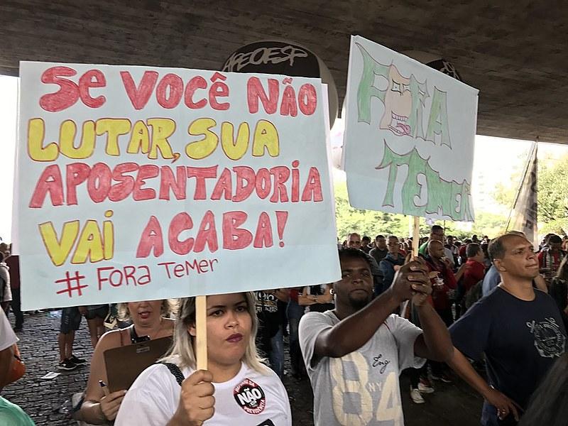 Ato contra a reforma da previdência na avenida Paulista nesta sexta-feira (31)