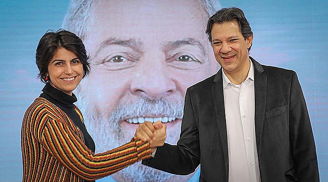 Manuela D'Ávila and Fernando Haddad are running for VP and president in Brazil, respectively. First round will take place on Oct. 7
