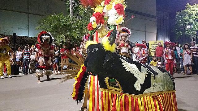 Apresentação do grupo Boi-Bumbá Luar do Marco na Semana do Folclore, em Belém (PA)