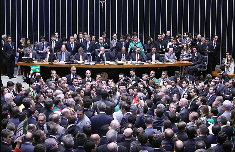 Deputados Federais durante a votação do Impeachment da ex-presidenta Dilma Rousseff