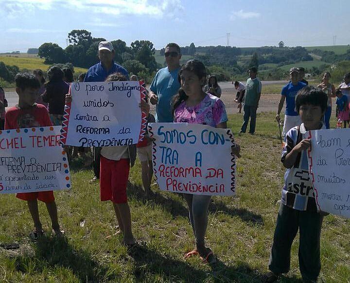 Kaingang de Campo do Meio mobilizados contra a Reforma da Previdência no Rio Grande do Sul