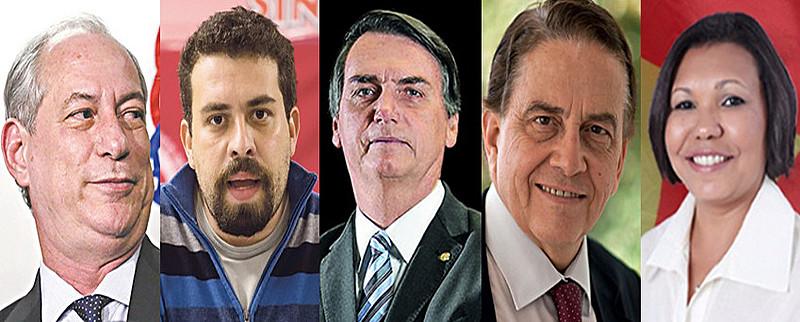 Cinco presidenciáveis foram definidos pelas convenções partidárias nesse fim de semana