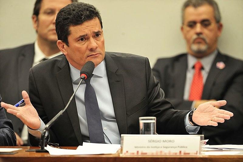 O ministro Sérgio Moro durante depoimento na Câmara dos Deputados em julho