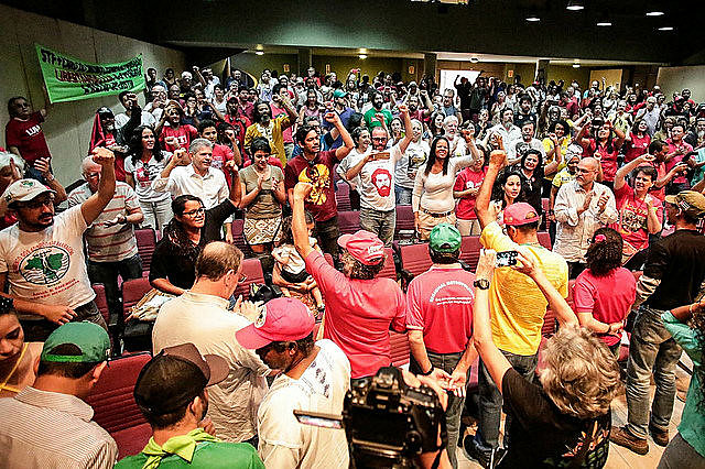 Hunger strikers and supporters during solidarity rally on Saturday in Brasília