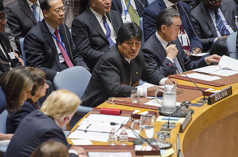 Evo Morales acusa Estados Unidos por demonstrarem seu desprezo pelo direito internacional e pelo multilateralismo.