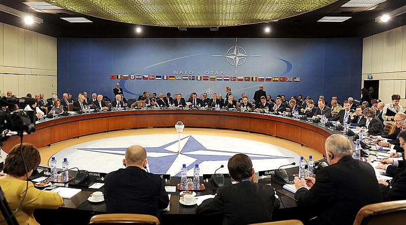 Líderes da Otan em reunião na sede da organização, em Bruxelas, na Bélgica