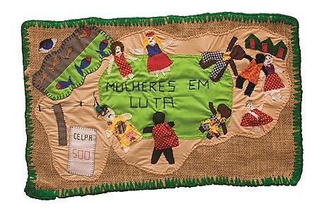 """Arpillera """"Mulheres em Luta"""", produzida por mulheres da região do Tapajós"""