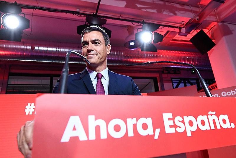 Líder do PSOE e primeiro-ministro interino da Espanha, Pedro Sánchez