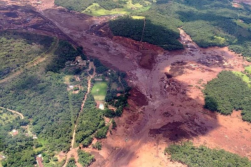 Visão panorâmica do crime ambiental em Brumadinho, que ocorreu em janeiro deste ano.