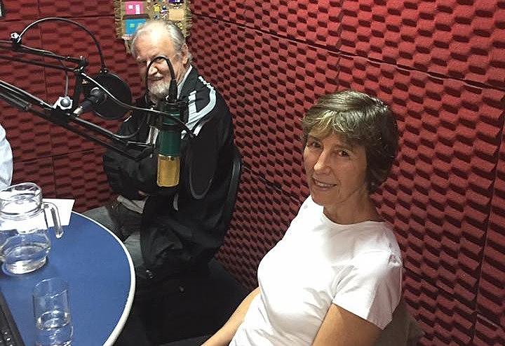 João Pedro Stedile e Maria Rita no estúdio do Brasil de Fato em São Paulo